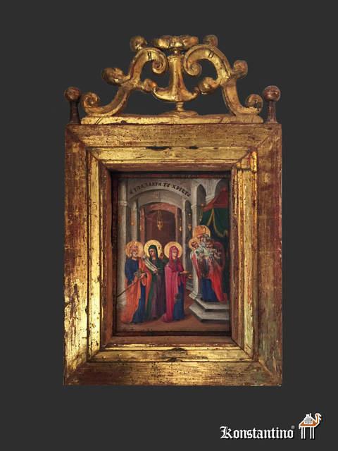 198-H Icono S. XIX con marco antiguo en pan de oro. Rusia o Grecia ...