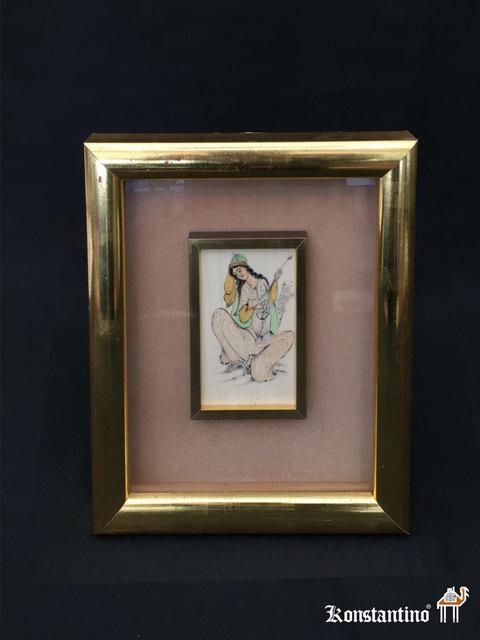 1093-C Miniatura India con marco sobre marfil. 1°s S.XX. 12\'5x7\'5 ...